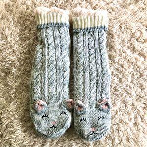Kitty fleece slipper socks NWOT